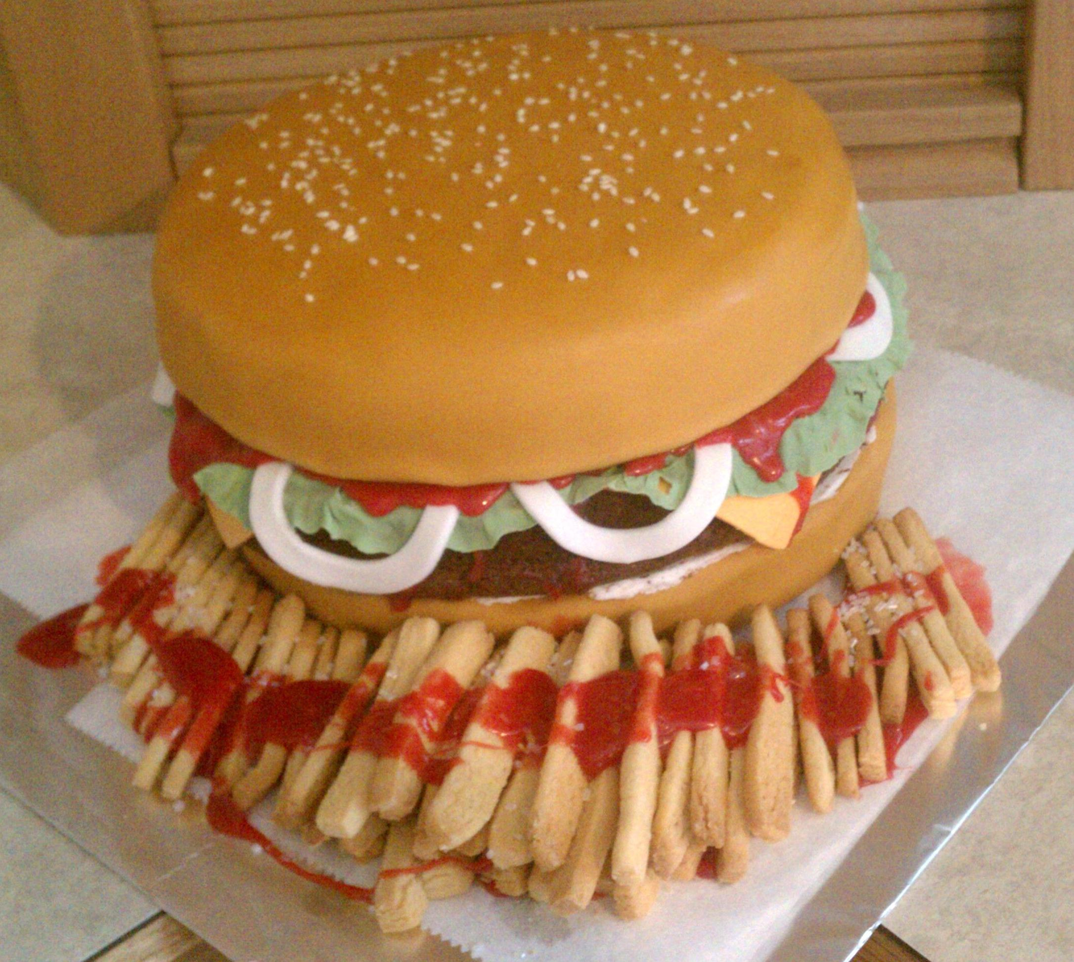 Hamburger & Fries Birthday Cake - International Overflow Ministries